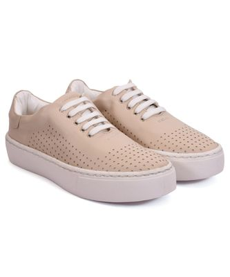 Women Beige Synthetic Leather Sneakers