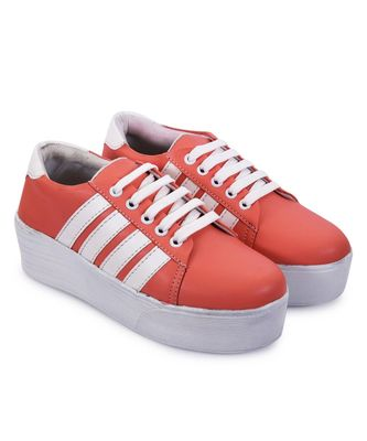 Women Peach Synthetic Leather Sneakers