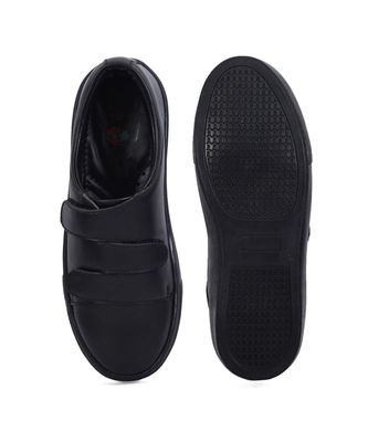 Women Black Synthetic Leather Sneakers