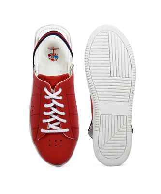 Women Red Synthetic Leather Sneakers