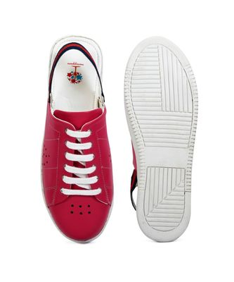 Women Pink Synthetic Leather Sneakers