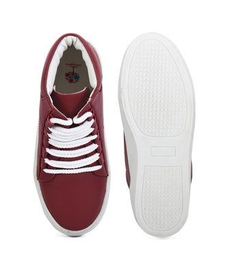 Women Maroon Synthetic Leather Sneakers