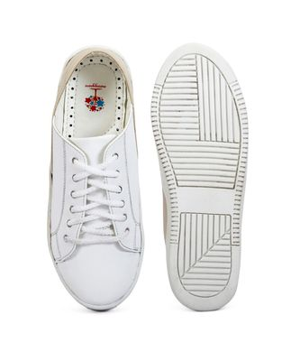 Women White Synthetic Leather Sneakers