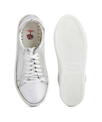 Women Silver Synthetic Leather Sneakers