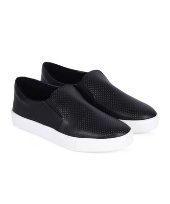 Women Black Synthetic Leather Slip-On Sneakers
