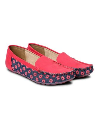 Women Red Synthetic Leather Loafers