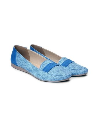 Women Blue Synthetic Leather Loafers