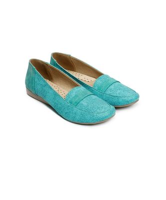 Women Sea green Synthetic Leather Loafers