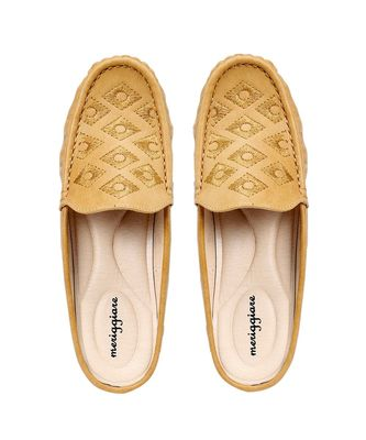 Women Synthetic Leather Slip-On Loafers -Beige