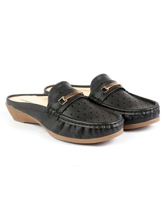 Women Synthetic Leather Slip-On Loafers -Black