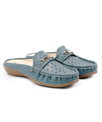 Women Synthetic Leather Slip-On Loafers -Blue