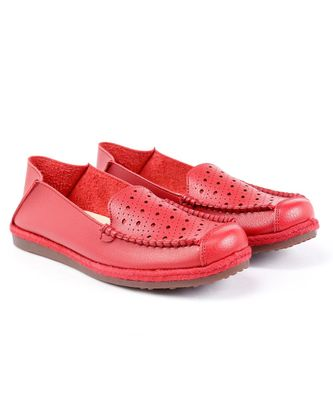 Women Synthetic Leather Slip-On Loafers -Red