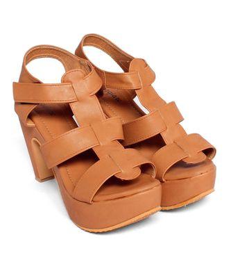 Women Brown Sandals Block