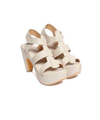 Women Cream Sandals Block