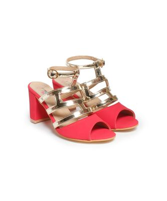 Women Red Sandals Block