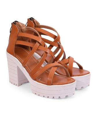 Women Brown Sandals Block