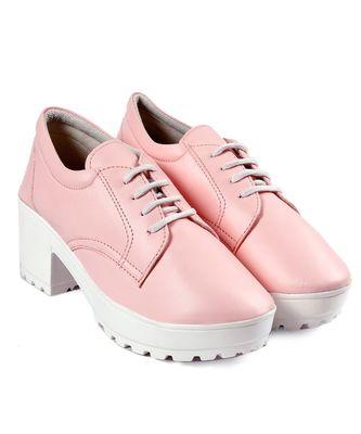 Women Baby Pink Heeled Boots Block