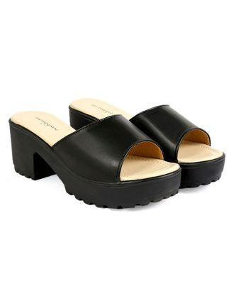 Women Slip-ons Black Block Heels