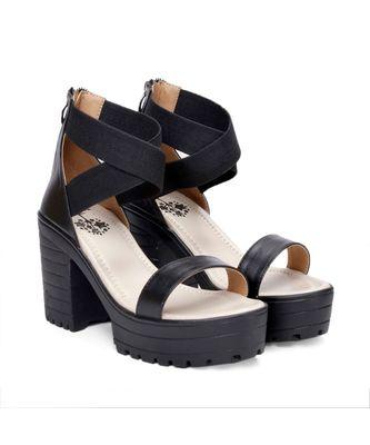 Women Black Sandals Block