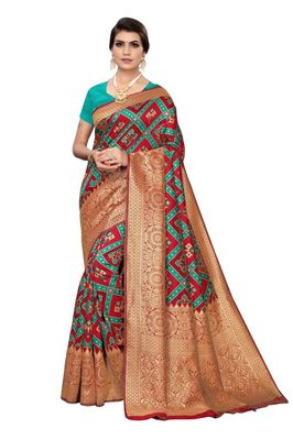 Rama green printed banarasi saree with blouse