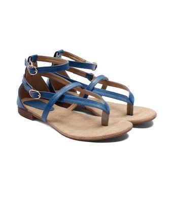 Women Blue Flats One Toe Flats