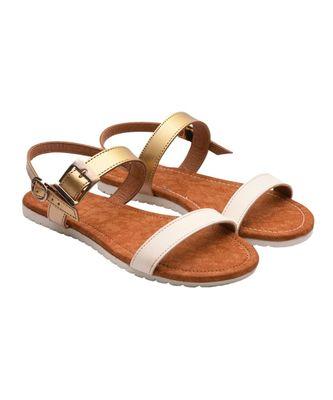 Women White Flats Open Toe Flats