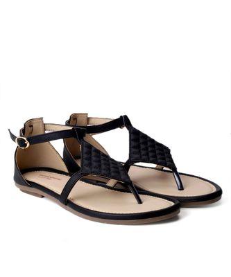 Women Black Flats One Toe Flats