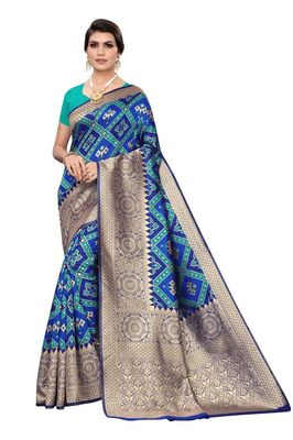Blue printed banarasi saree with blouse