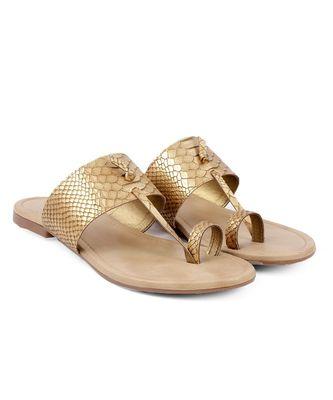 Women Gold Flats One Toe Flats