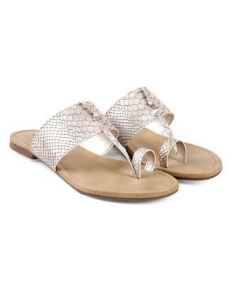 Women Silver Flats One Toe Flats
