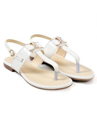 Women White Flats One Toe Flats