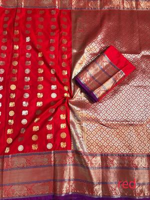 WOMEN'S DESIGNER RED BANARASI KANJIVARAM SAREE WITH DESIGNER BLOUSE
