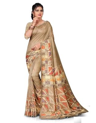 Brown printed silk saree with blouse