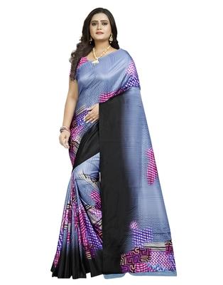 Blue printed silk saree with blouse