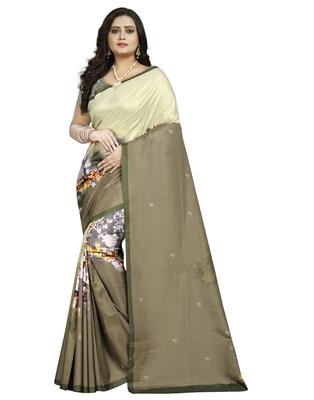 Cream printed silk saree with blouse