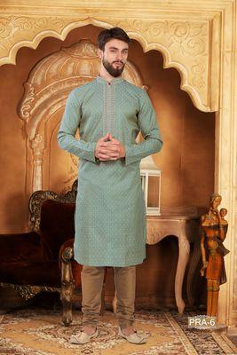 Turquoise embroidered jacquard men-kurtas