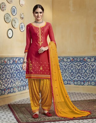 Red embroidered satin salwar