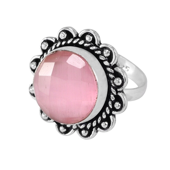 Pink cat's eye rings