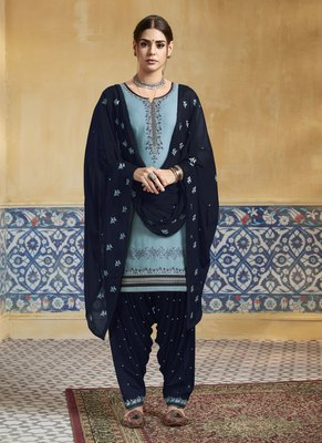 Sky-blue embroidered satin salwar