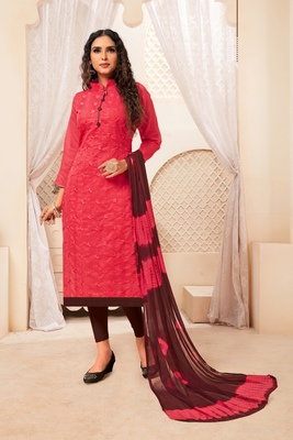 Pink embroidered raw silk salwar