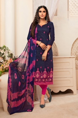 Navy-blue embroidered raw silk salwar