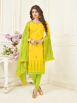 Yellow embroidered jacquard salwar
