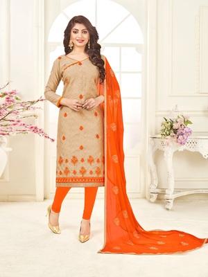 Beige embroidered jacquard salwar