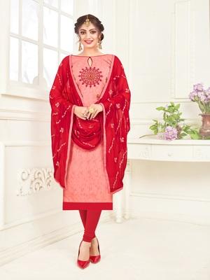 Light-pink embroidered jacquard salwar