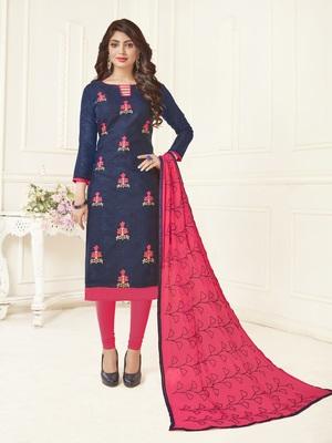 Blue embroidered jacquard salwar