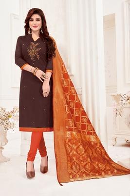 Dark-brown embroidered faux cotton salwar
