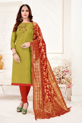 Mehendi embroidered faux cotton salwar