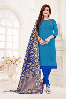 Sky-blue embroidered faux cotton salwar