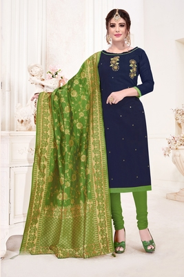 Navy-blue embroidered faux cotton salwar