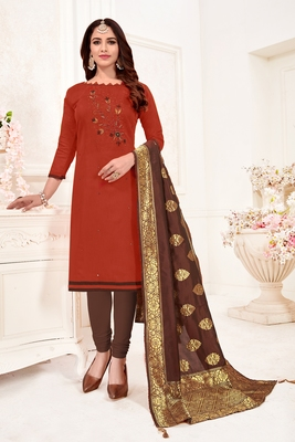 Maroon embroidered faux cotton salwar
